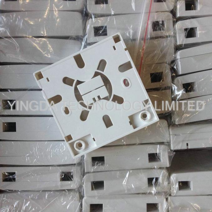 2 Port FTTH Indoor Fiber Optic Termination Box Socket Panel Wall Outlet 86*86*23mm