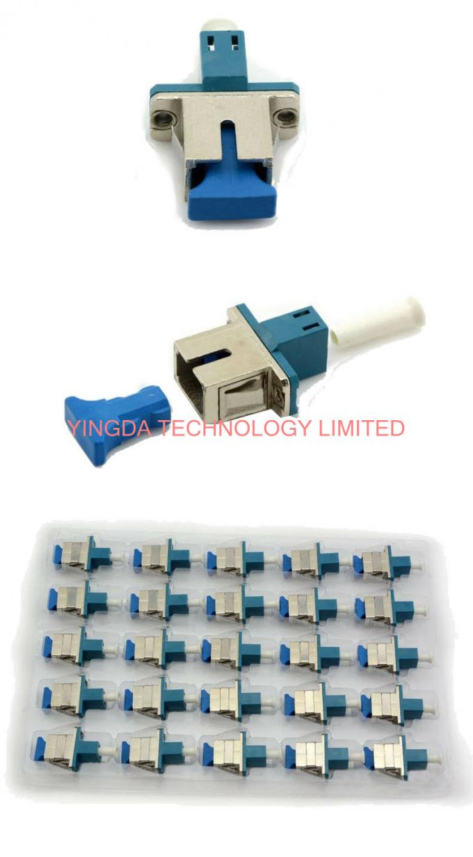 Half Metal LC - SC Fiber Optic Adapter , Low Insertion Loss Male To Female Adapter