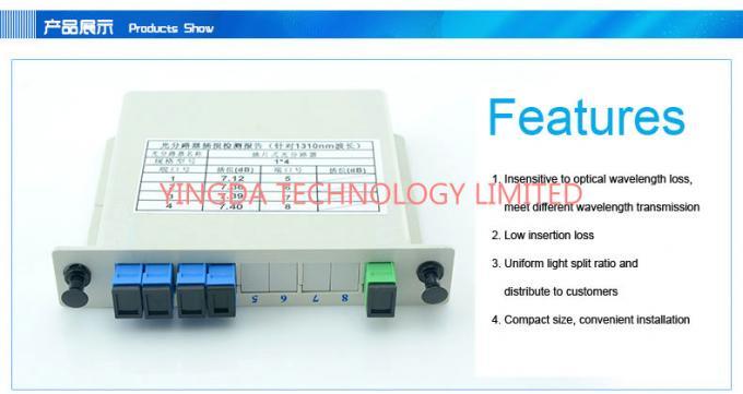 Fiber Optic PLC EPON Splitter 1x4 In LGX Box , G657A1, G652D