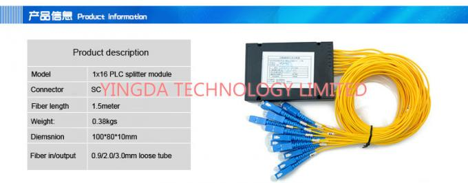 Small FTTH Passive Fiber Optic PLC Splitter 1X16 SC SM 2.0mm High Stability