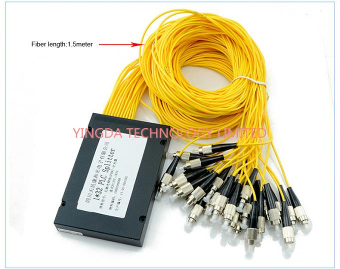 GPON Low PDL 1*32 FC PLC Fiber Optic Splitter ABS Plastic For Data Communication