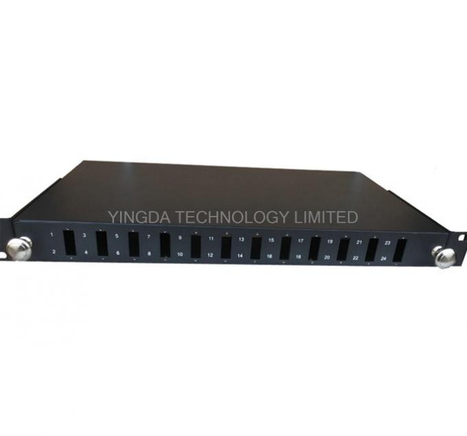 "Standard Metal Sliding Tray Fiber Optic 19"" Patch Panel 12 / 24 Port Fiber Optical Distribution Box GPSM-1U / 2U / 4U"