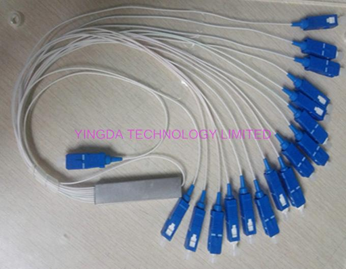 0.9mm Steel Tube Fiber Optic PLC Splitter 1X16 G657A1 1.5m 0.9mm With SC UPC Connector