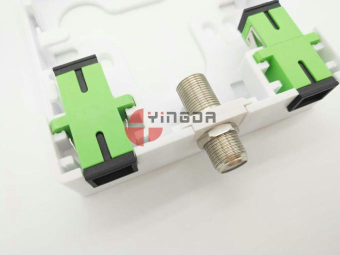 2 Port Socket Panel for SC Fiber Adapter Fiber Optic Terminal Box White ABS FTTH Wall Mount