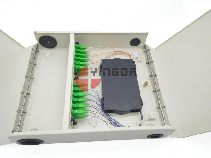 Wall Mounted 24 Cores Optical Distribution Box Completed SC Couplers Pigtails Cold Rolled Steel