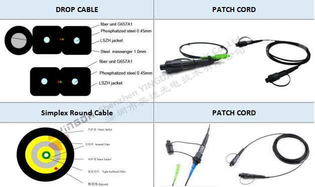 Waterproof SC/APC Connector Optical Fiber Patch Cord Deployment Ftth Network 5mm Cable