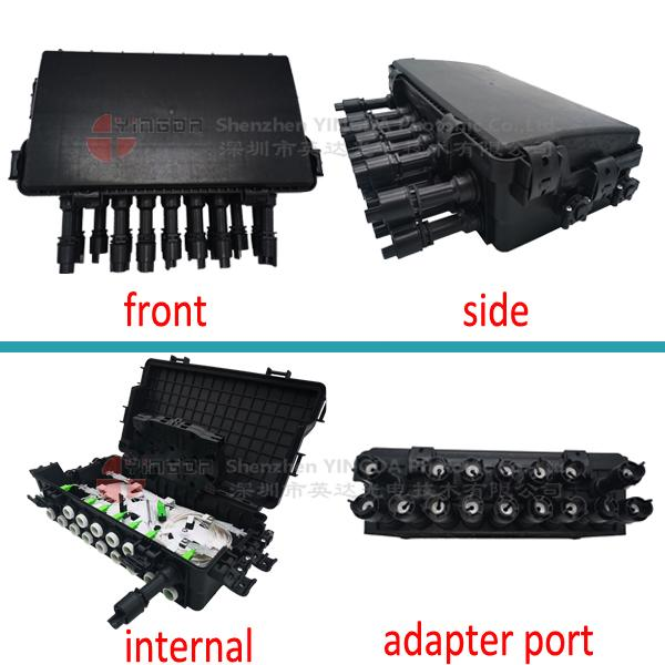 SC Adapter Coupler Fiber Cable Joint Box Closure 16 Ports 2 In 2 Out PP Black Color