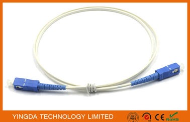 China FTTH Flat SC - SC Patch Cord Single Mode Fibre Patch Leads Simplex 1m White G657A1 supplier