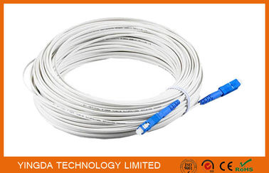 China Figure -8 Drop Cable Fiber Optical Patch Cord SC / PC Connector 50M White 2.0*30mm factory