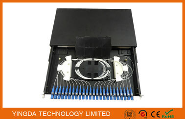 "China Standard Metal Sliding Tray Fiber Optic 19"" Patch Panel 12 / 24 Port Fiber Optical Distribution Box GPSM-1U / 2U / 4U supplier"