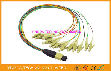 High Density MTP MPO cable  - LC 12 Core Hydra Cable Assemblies Male Connectors With Guide Pins