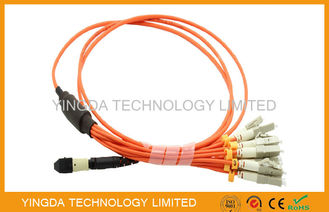 China MTP to LC / SC / ST / FC Fiber Truck Cable , 12 Standard Harness Fiber Patch Cord factory