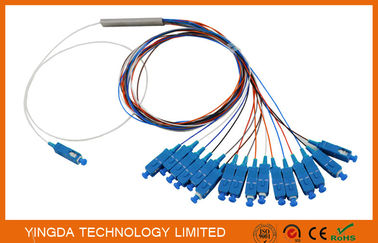 China  0.9mm Steel Tube Fiber Optic PLC Splitter 1X16 G657A1 1.5m 0.9mm With SC UPC Connector supplier
