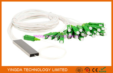 China FTTH 1x32 Mini PLC Splitter Single mode Steel Tube LC APC Connectors supplier
