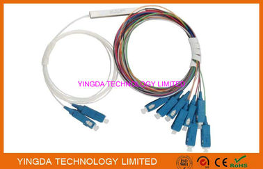 China SC/UPC Coupler Fiber Optic PLC Splitter 2X8 900um 9/125um SM 1Meter G657A LSZH factory