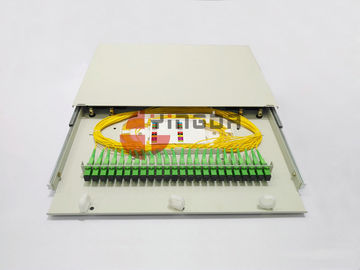 "China 19"" ODF SC 24Port Sliding Drawer Fiber Optic Patch Panel Distribution Box 1U Cold Rolled Steel supplier"