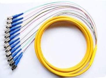 China Multi - fiber 12 Core Fiber Optic Pigtail 1Meter or 1.5 Meter , Fiber Jumper FC Ribbon Pigtail factory