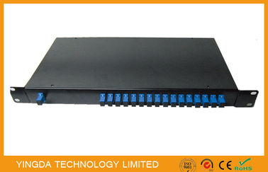"China Epon PLC Fiber Optic power splitter 1x16 1260-1650nm In 19"" Rack Mount 2mm Sm Cable supplier"