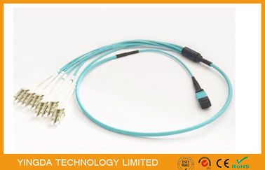 China 100G OM3-300 QSFP MTP MPO Cable With 6 x LC Duplex Uniboot Connector Aqua factory