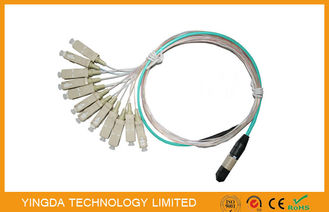 China OM3 10G MTP MPO Cable 7.8mm Ferrule SC 900um , Multi Fiber Optic Pigtails supplier