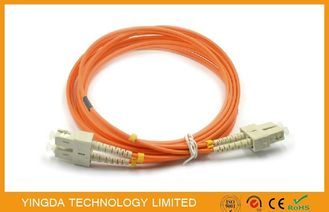 China SC -SC Multimode Fiber Optic Patch Cord  50 (125)um Duplex 2.0mm With Beige Clip supplier