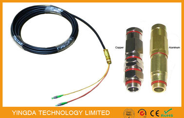 China Black 9/125 Single Mode FC / APC 2 Cores Fiber Optic Pigtail LSZH 3M Aluminum factory