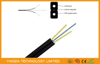 China FRP Glass Fiber Optic FTTH Drop Wire Cable G657A SM 2 Fibers GJXFH Black supplier