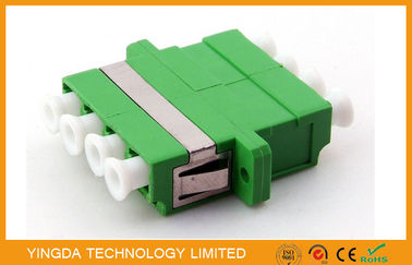China SM 9/125 um Fiber Optic Adapter LC / APC , Optical Fibre Adapter Green Quad 4 Way factory