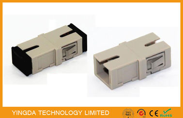 China Durable OM2 Multimode Optical Fiber Coupler Without Flange SC Adapter Beige supplier