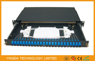 China 1U 48 Fibers 24 Port SC Duplex Black Box Fiber Optic Patch Panel Slding Drawer Type factory