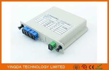 China Fiber Optic PLC EPON Splitter 1x4 In LGX Box , G657A1, G652D Corning Fiber SMF-28e supplier