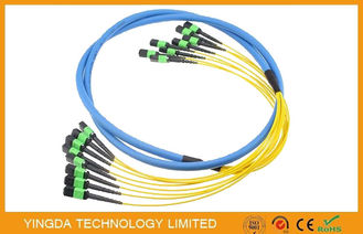 China Yellow 3D Tested 96 Fiber MTP MPO Cable , Fiber Optic Cable Assemblies factory