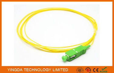 China Pigtails SC APC Singlemode Simplex 3 M 900 um PVC Yellow Fiber Optic Cable factory