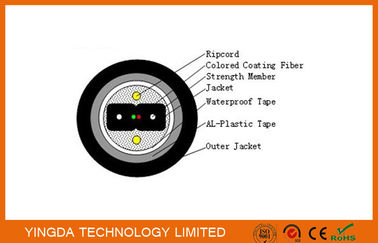 China Armored Bow Type Fiber Drop Cable FTTH Black PE Jacket Outdoor Duct Cable factory