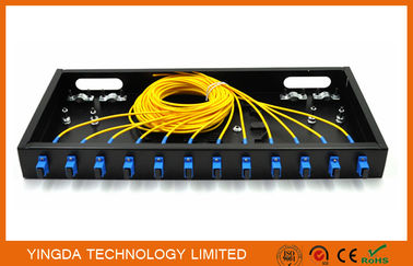 "China 12 Port SC Complete Assembly Load Fiber Optic Patch Panel 19"" ODF Black factory"