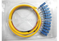 Industry 12 Core SC Fiber Optic Pigtail Breakout , FTTH SM LSZH SC Pigtail Corning Fiber G652D supplier
