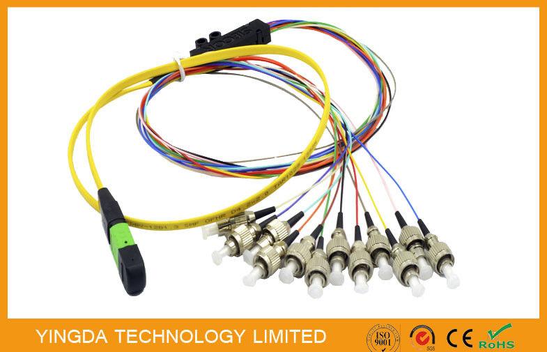 FC 12 Core Fiber Trunk Cable , MTP MPO Cable Ribbon 3M Single Mode 0 9mm