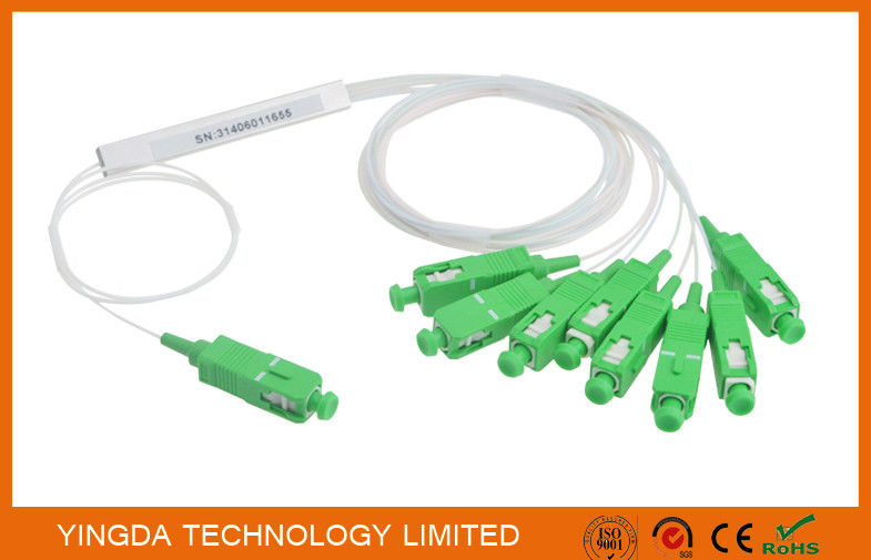 1:8 Fiber Pon Splitter Steel Tube Blockless Mini Module 900um,1x8 Optical splitter 1Meter supplier