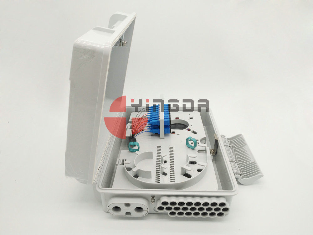 24 Ports Fiber Access Terminal Box with SC/UPC adapter Pigtails , 1*8 1*16 Splitter Distribution Box White supplier