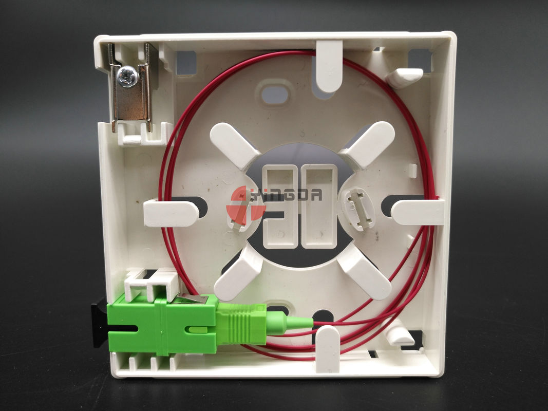 SC/APC Wall Mount Fiber Termination Box Socket Panel 2 Ports With Metal Cable Clamp supplier