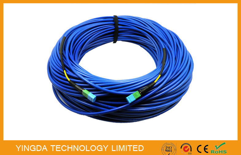 12 Fiber MTP Steel Armored Fiber Optical MTP MPO Cable Round , MTP Patch Cord supplier