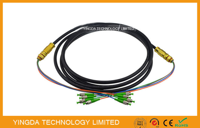 FC / APC 4 Core Optical Fiber Pigtails Patch Cord Cable Waterproof Black , Length Customized supplier