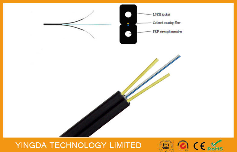 FRP Glass Fiber Optic FTTH Drop Wire Cable G657A SM 2 Fibers GJXFH Black