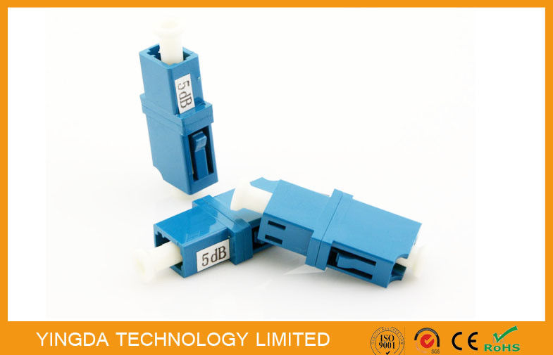 LC PC Fixed Fiber Optic Attenuator 5dB Blue White Dust Cap GR910 , IEC Standard supplier