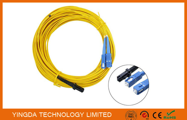 LC / APC Fiber Optic Patch Cord MT-RJ to SC Singlmode Duplex Zipcord Without Clip Yellow supplier