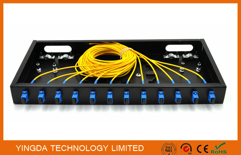 12 Port Sc Complete Assembly Load Fiber Optic Patch Panel 19 Odf Black