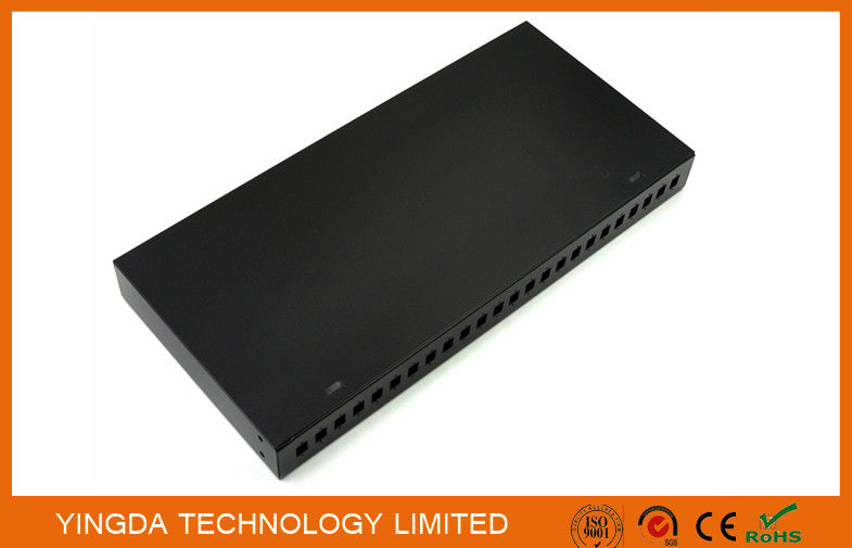 "19"" 24 Port Rack Patch Panel , 24 Cores SC Simplex Adapter Panel Rack Mounting Black supplier"