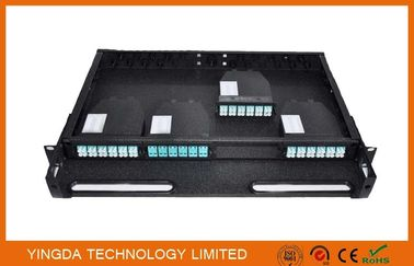 China 96 Cores 1U MPO Patch Panel / Enclosures 4 bays wide 24 LC ports3 MPO APC (x8) input SMF distributor