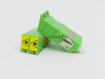 Green LC/APC Duplex SM Fiber Optic Adapter With Shutter , No Flange