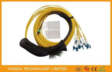 China Waterproof SM MTP MPO Cable , 12 Core Fiber Optic Cable With Pulling Eye Plug distributor